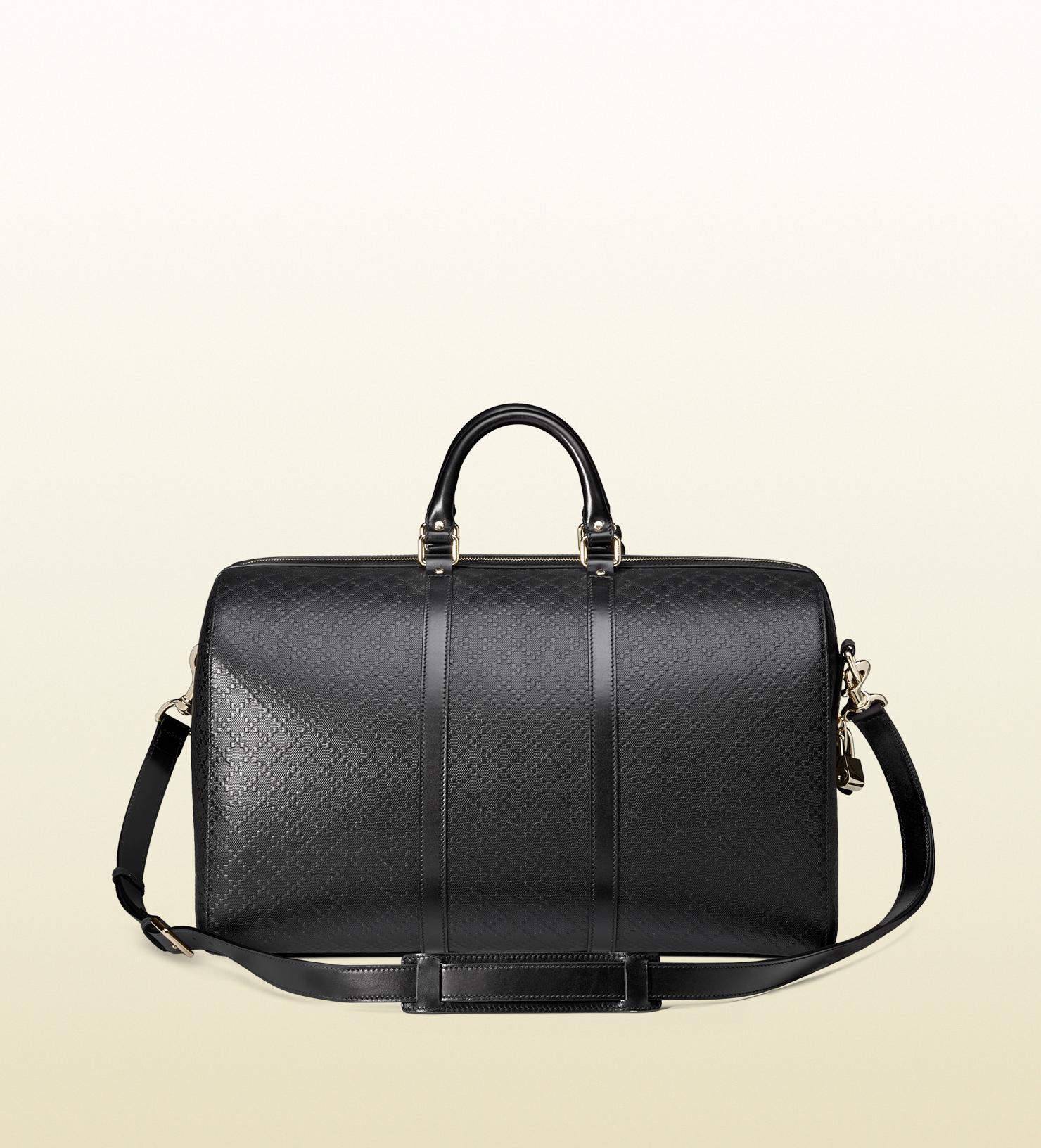 2d656fea047 Lyst - Gucci Bright Diamante Leather Medium Duffel in Black for Men