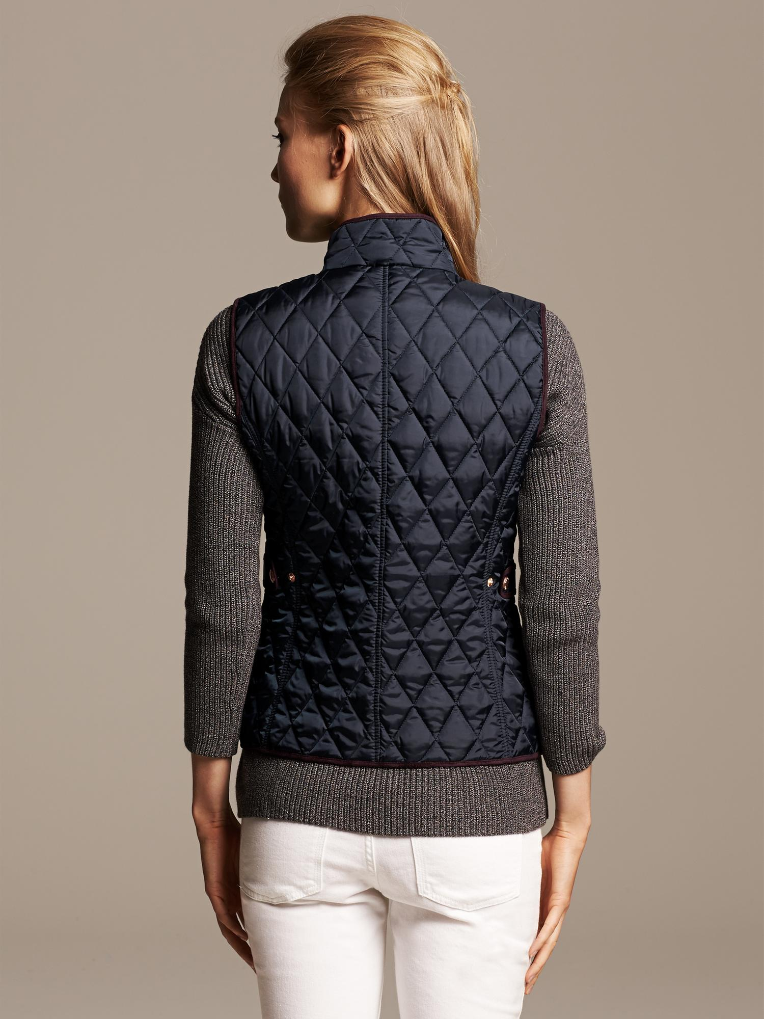 Banana Republic Quilted Vest In Blue Lyst