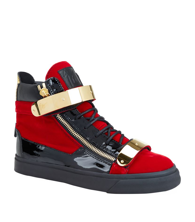 f9d9b5e6fbd1 Giuseppe Zanotti Velvet And Leather High-top Sneaker in Red - Lyst