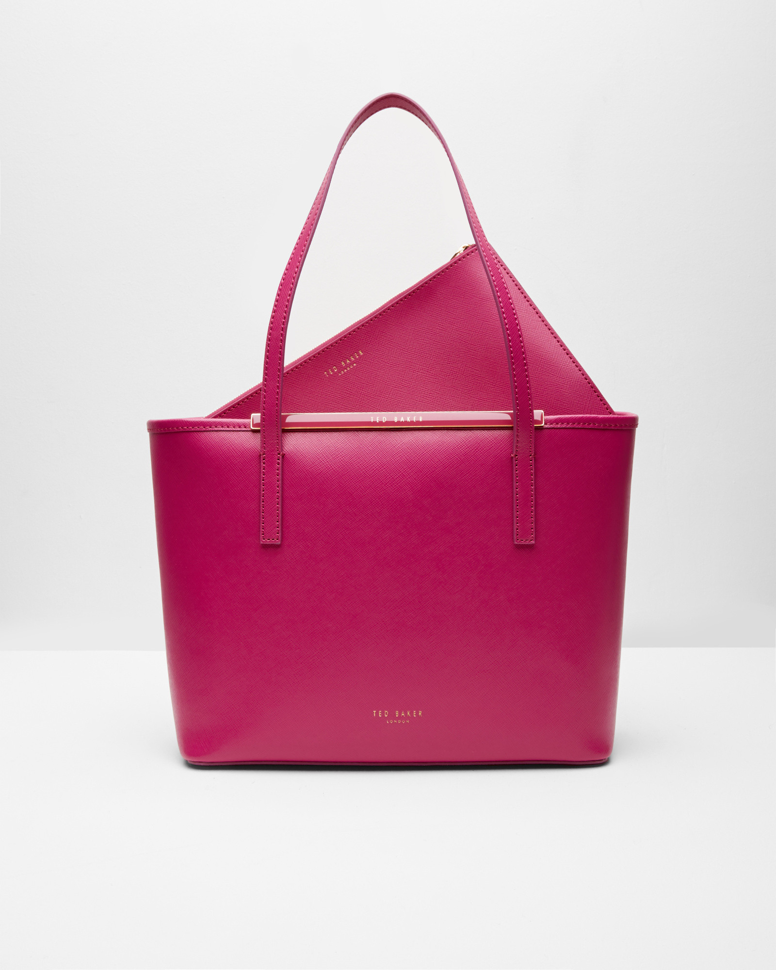 8e7745fe99de89 Ted Baker Crosshatch Leather Small Shopper Bag in Pink - Lyst
