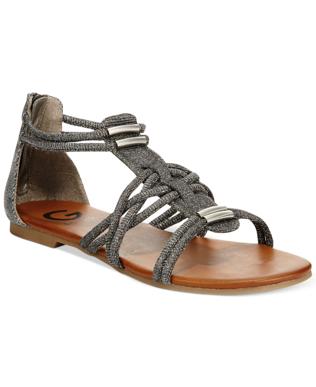 e79141084e7 Lyst - G by Guess Learn Flat Gladiator Sandals in Gray
