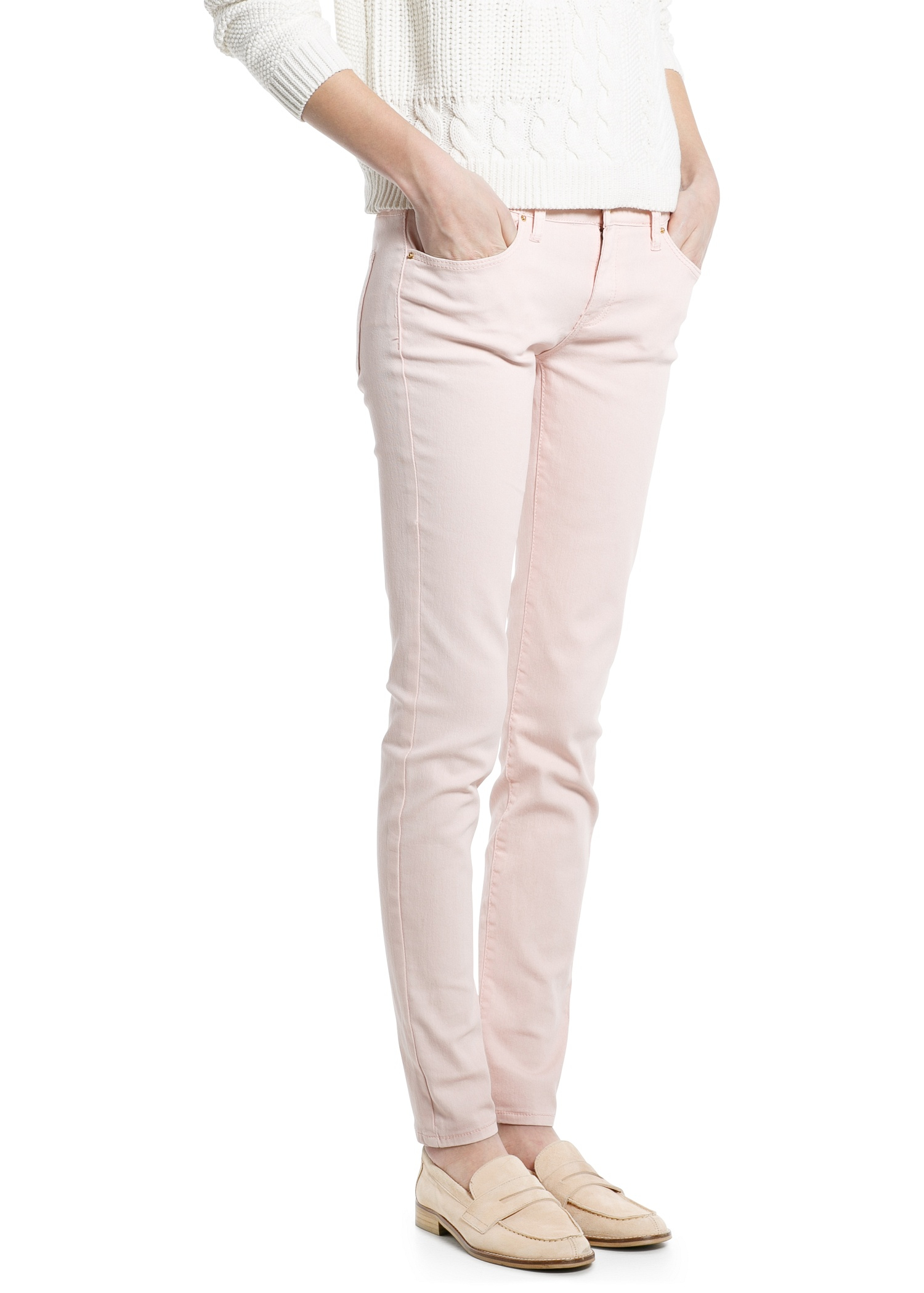 Lyst Mango Super Slim Fit Paty Jeans In Pink