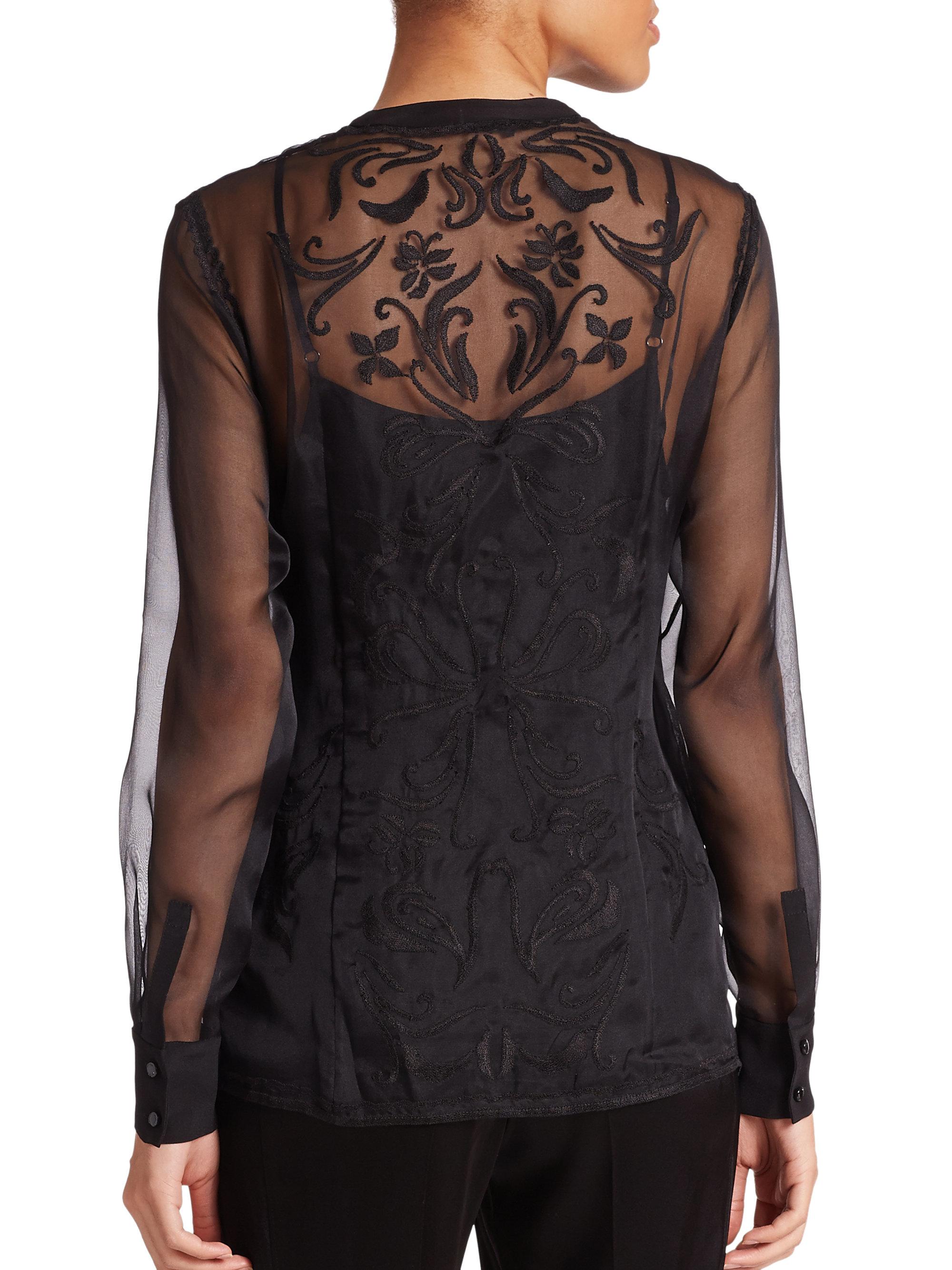 escada embroidered sheer silk blouse in black