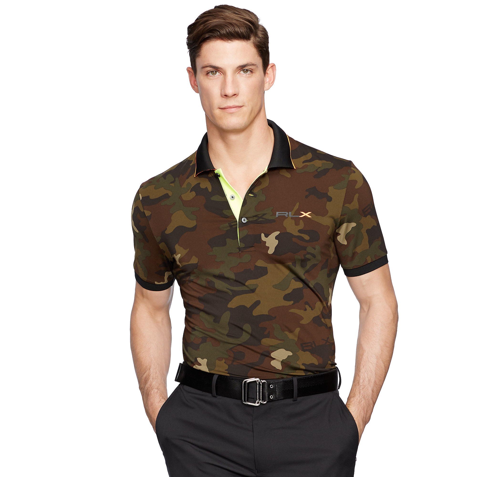 Ralph lauren tailored camo lightweight polo in green for for Camo polo shirts for men