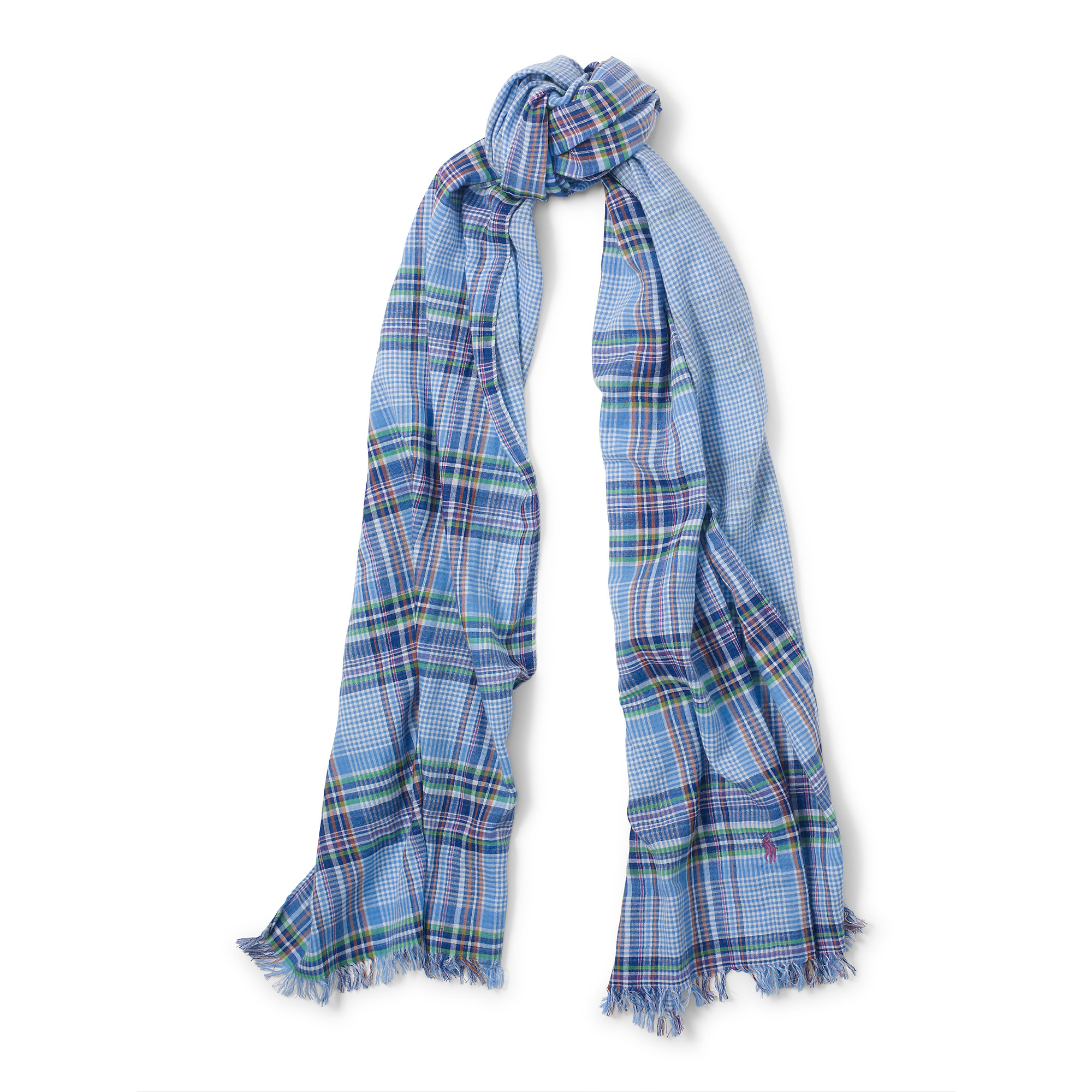 polo ralph faced cotton scarf in blue lyst