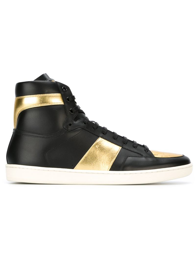 saint laurent court classic leather high top sneakers in black lyst. Black Bedroom Furniture Sets. Home Design Ideas