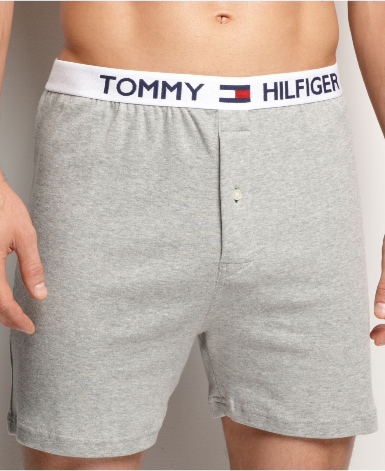 tommy hilfiger men 39 s underwear athletic knit boxer in gray for men grey heather save 25 lyst. Black Bedroom Furniture Sets. Home Design Ideas