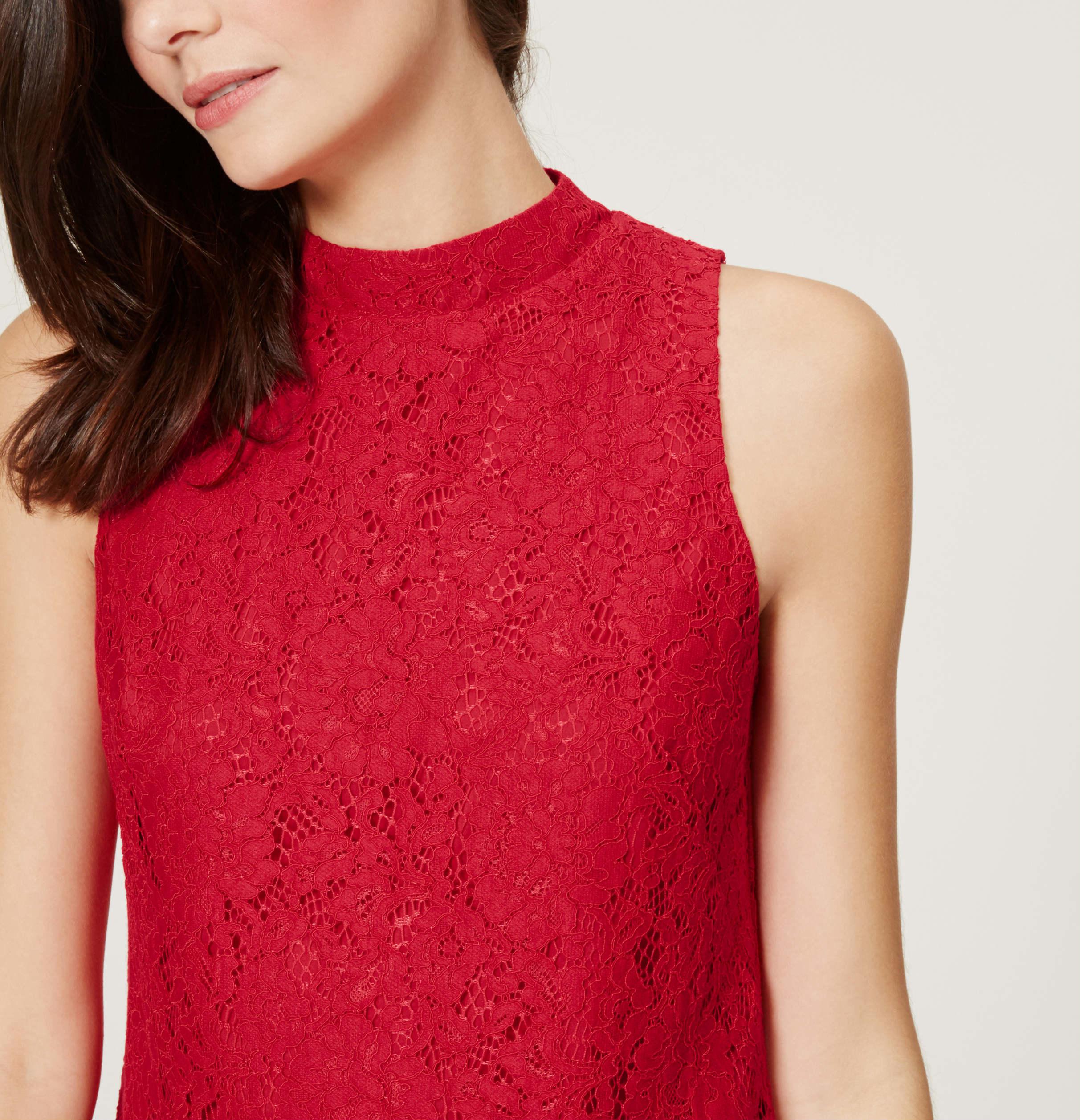 Loft lace flippy dress in red lyst for Ann taylor loft fashion island