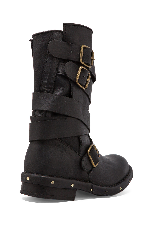 jeffrey cbell brit leather moto boot in black in black