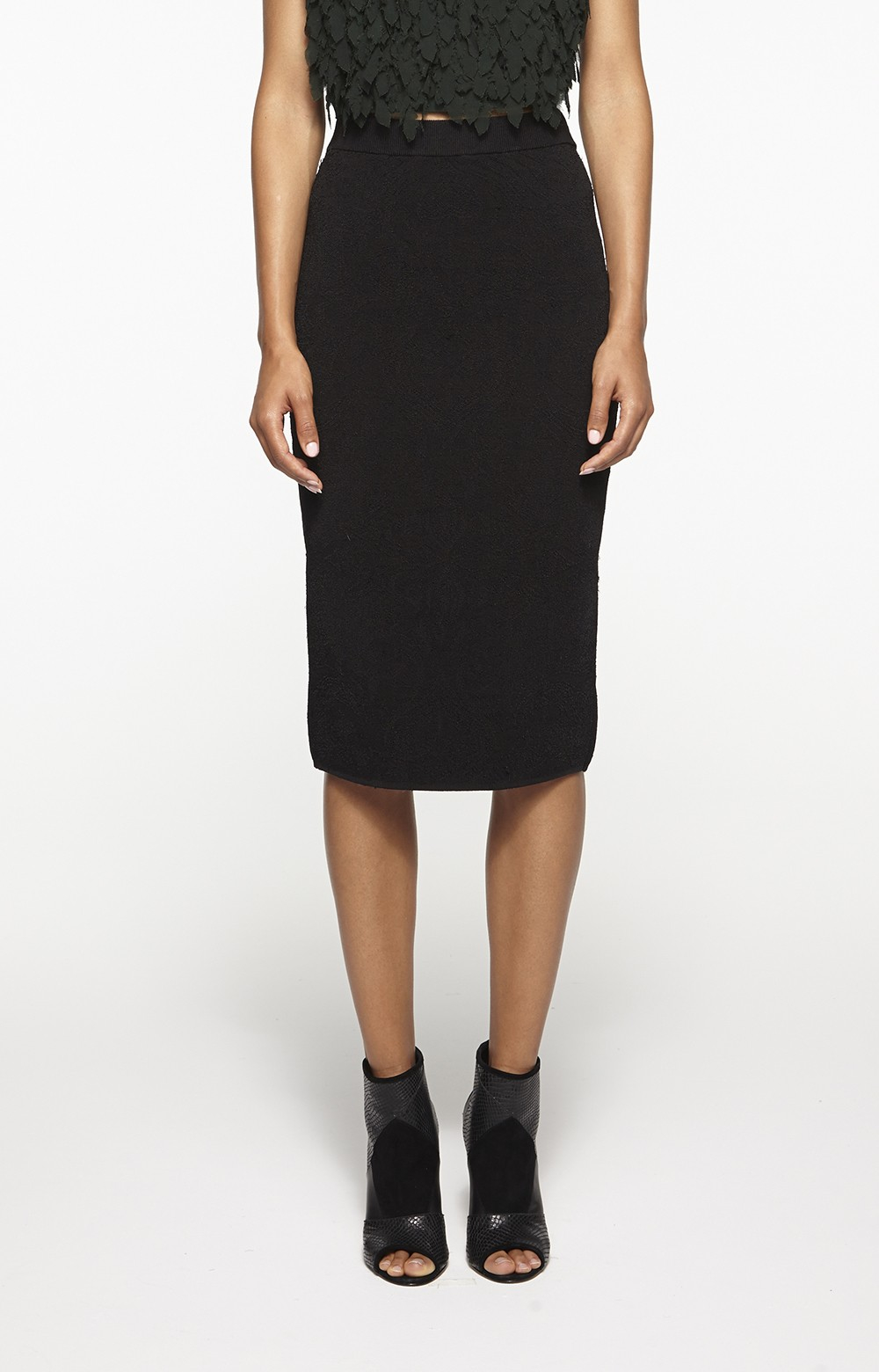 Nicole miller Knit Pencil Skirt in Black | Lyst