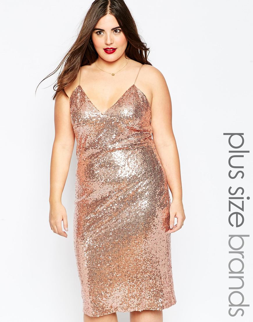 Plus Size Cami Dress In Sequins