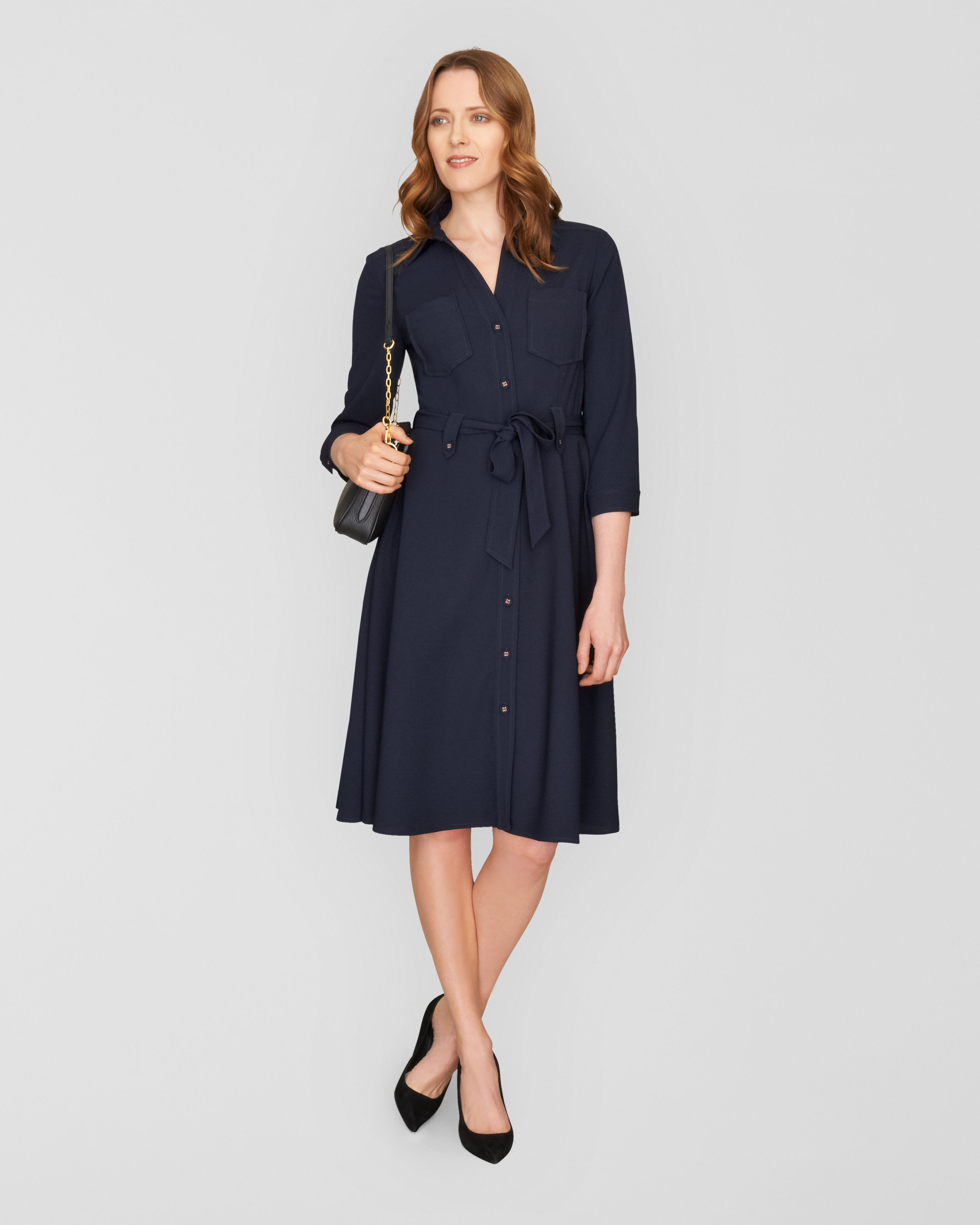ddeca59bf78 Lyst - Jaeger Belted Shirt Dress in Blue