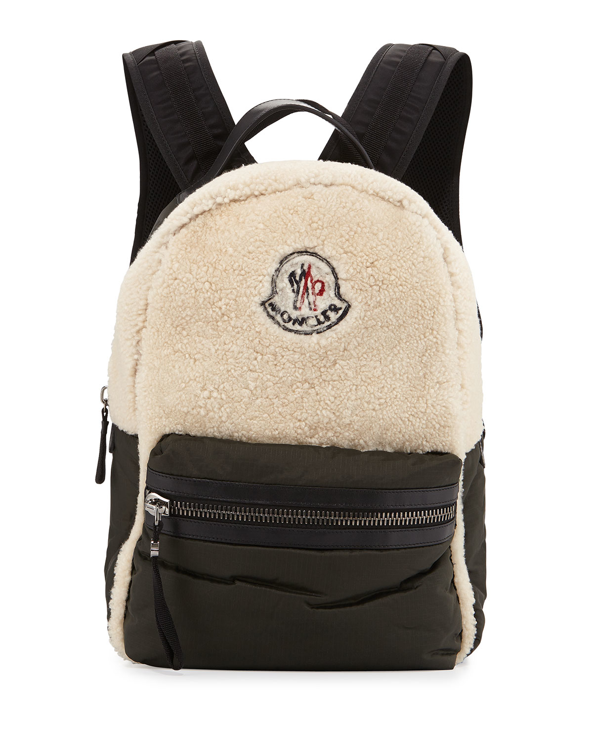 Lyst Moncler George Fleece Leather Backpack In Blue