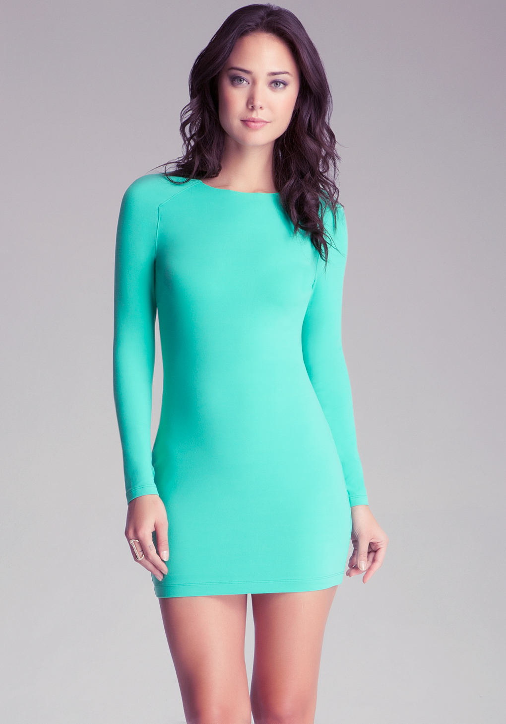 17c970247050 Lyst - Bebe Long Sleeve Bodycon Dress in Green