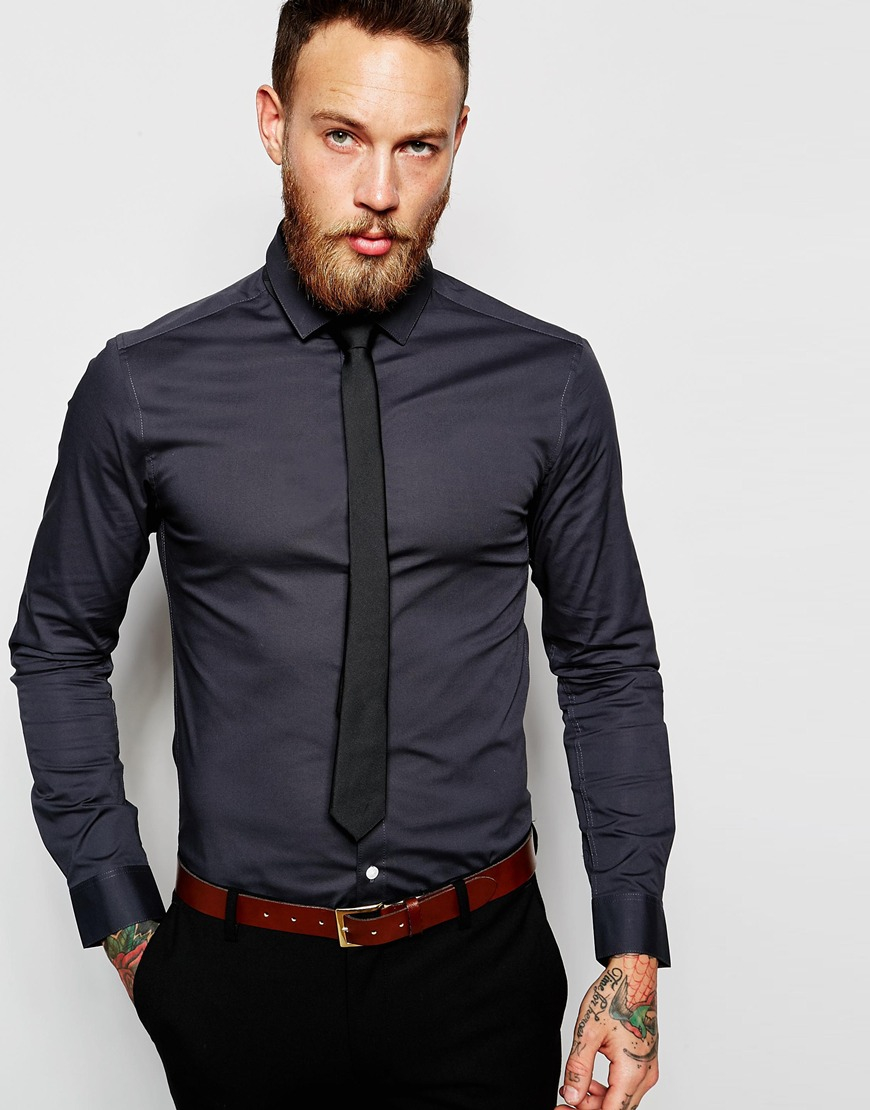 Lyst asos skinny shirt in charcoal and tie set in gray for Shirt and tie for men