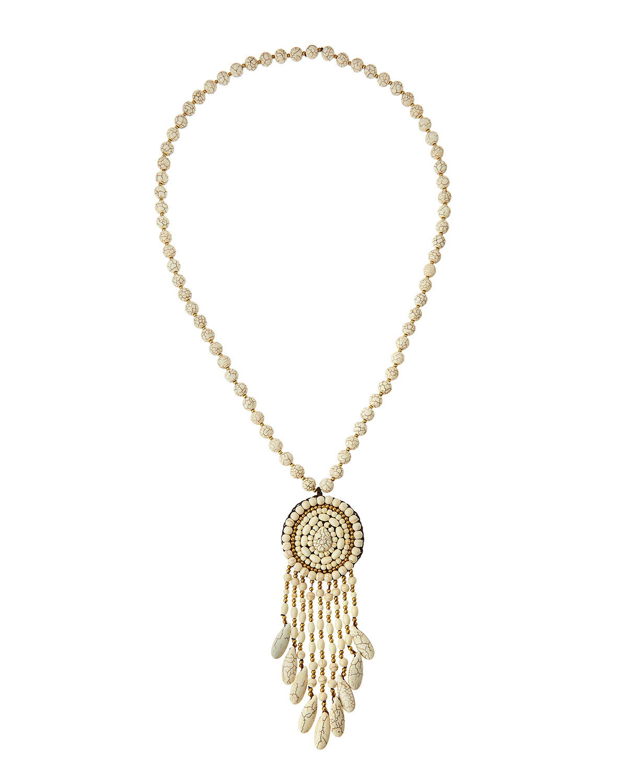 Jewelry necklace : Lyst panacea long howlite beaded fringe pendant necklace