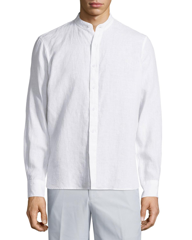 Lyst neiman marcus linen long sleeve shirt w mandarin for Linen long sleeve shirt