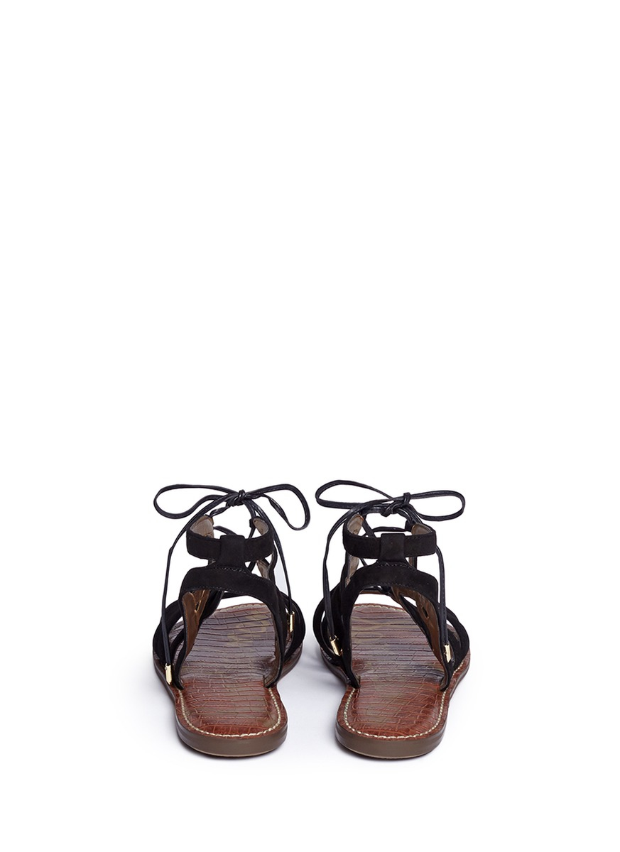 e4e7d080703af9 Lyst - Sam Edelman  gemma  Caged Suede Lace-up Sandals in Black
