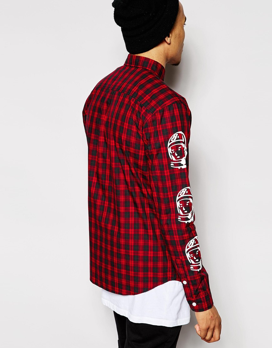 Bbcicecream Plaid Shirt With Helmet Print In Red For Men