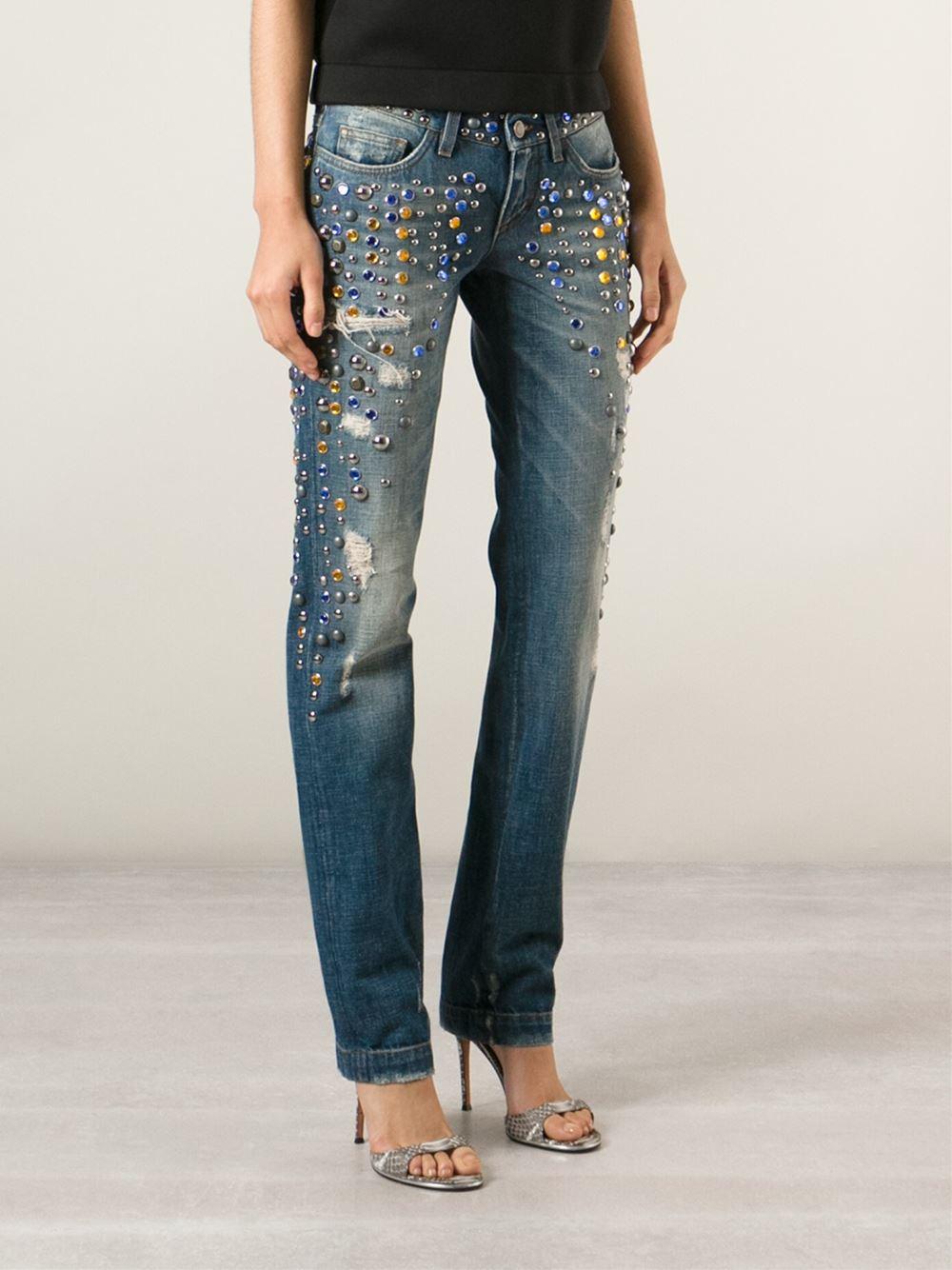 dolce gabbana embellished boyfriend jeans in blue lyst. Black Bedroom Furniture Sets. Home Design Ideas
