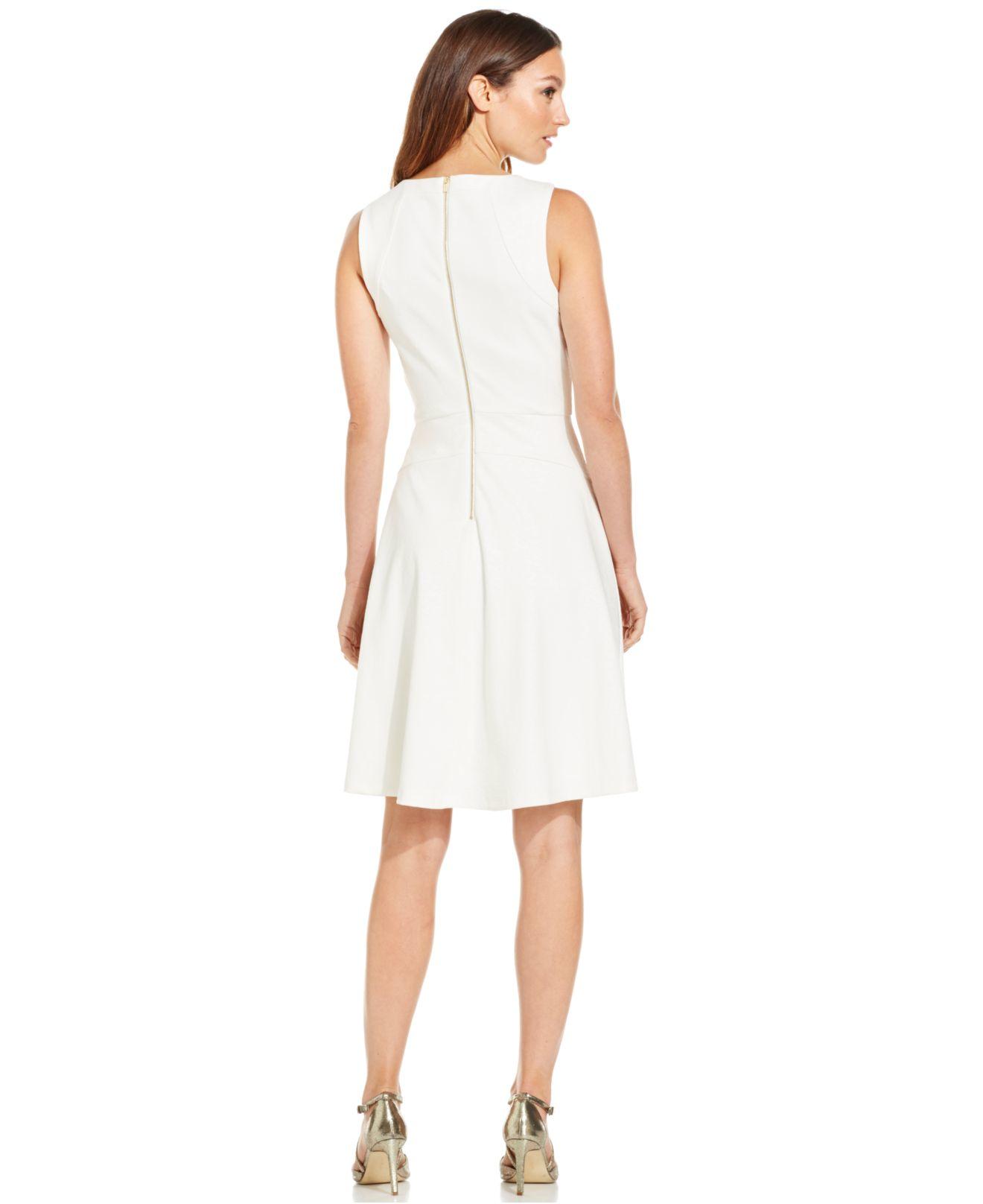 Calvin Klein Sleeveless Fit Amp Flare Dress In White Lyst
