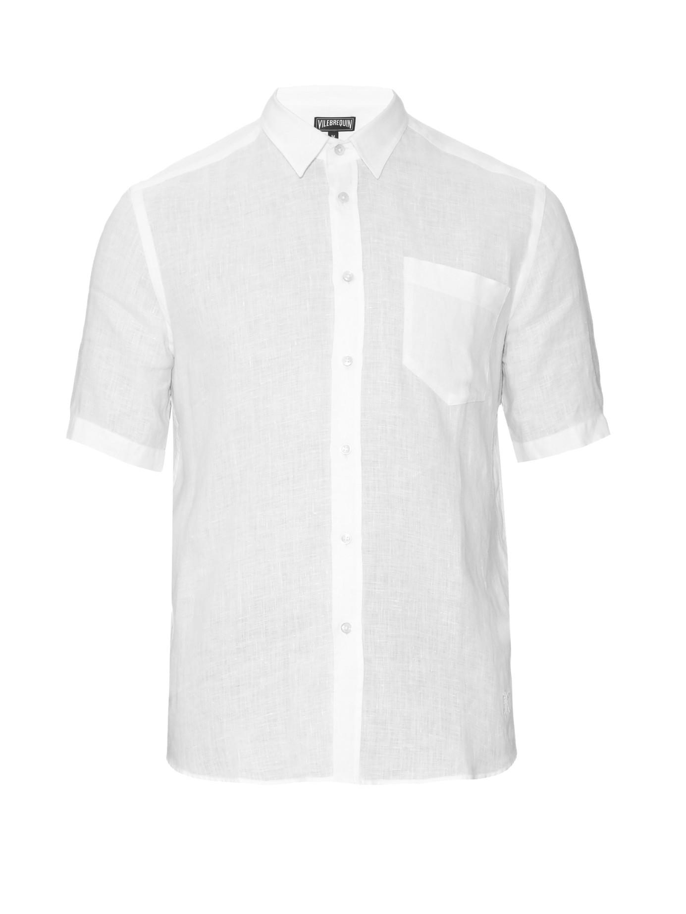Vilebrequin short sleeved linen shirt in white for men lyst for Short sleeve linen shirt