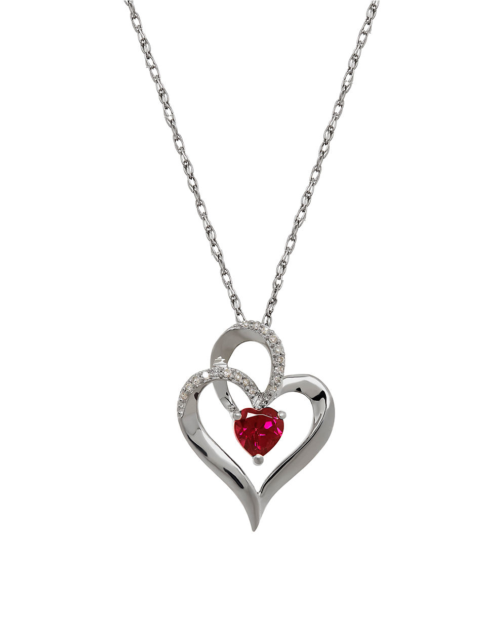 Lord & taylor Garnet, Diamond And Sterling Silver Heart ...