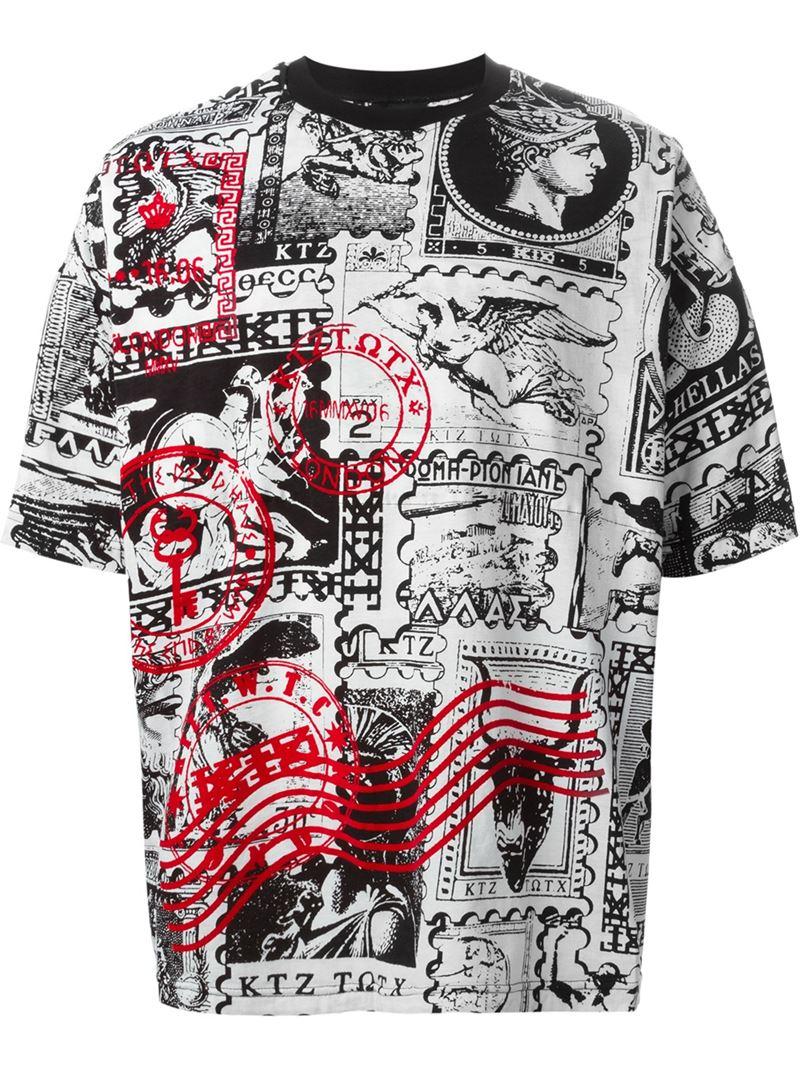 Ktz oversized stamp print t shirt in white for men lyst for Stamp t shirt printing