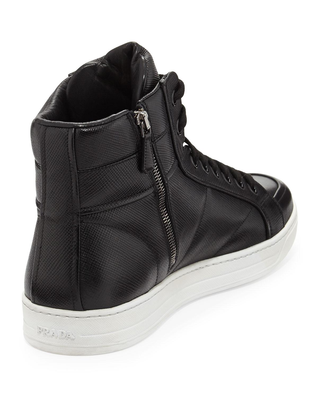 a4773d54b8f97 ... france lyst prada saffiano high top sneaker in black for men c651c 62c7a