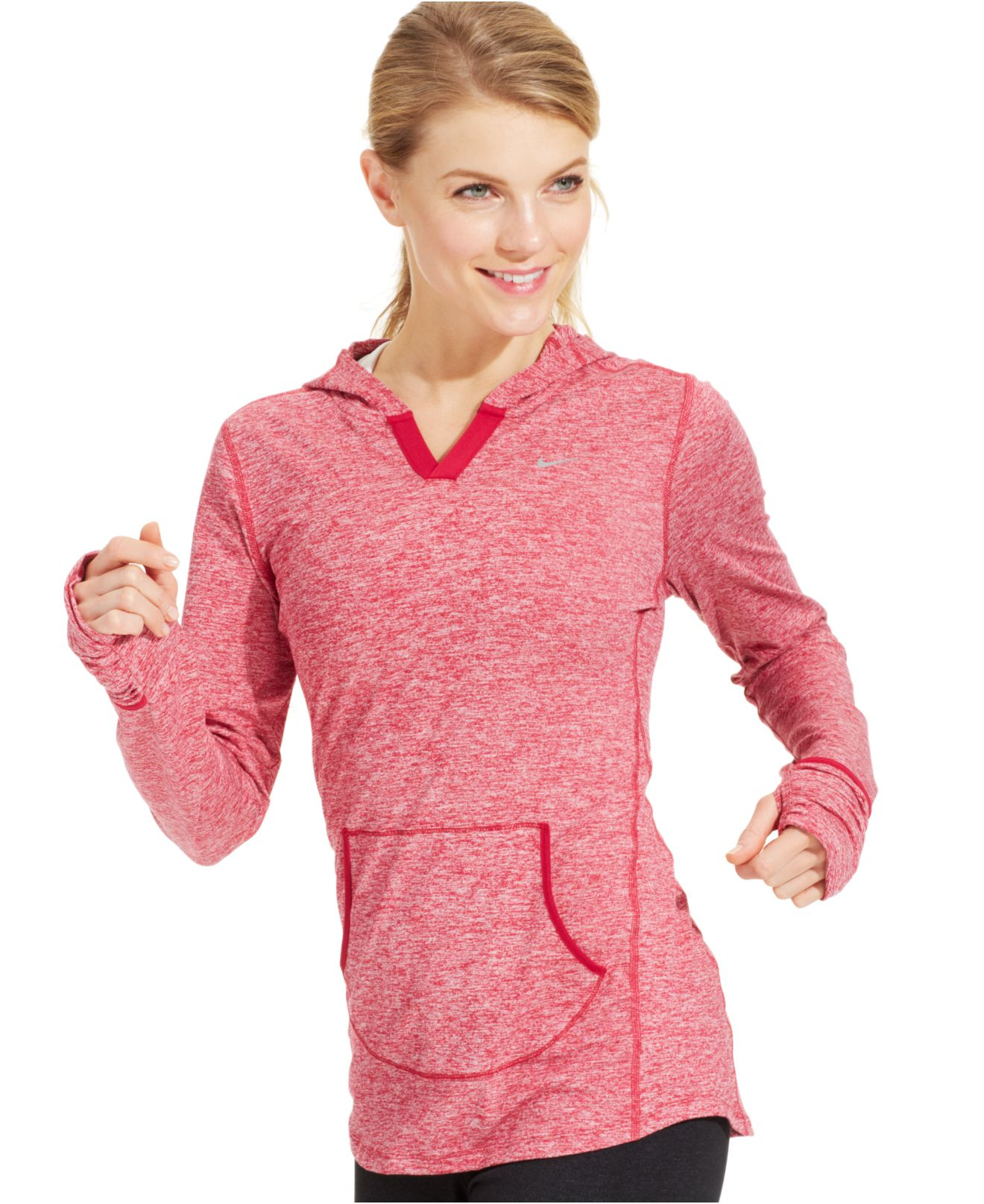 nike element dri fit hooded pullover in pink lyst. Black Bedroom Furniture Sets. Home Design Ideas