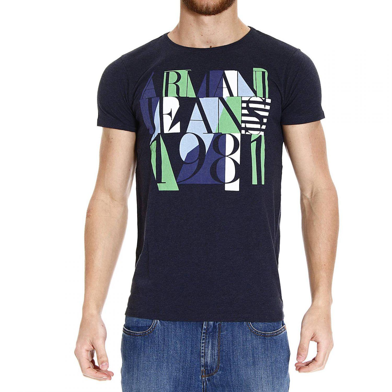 Giorgio armani t shirt half sleeve crew neck melange print for Denim half sleeve shirt