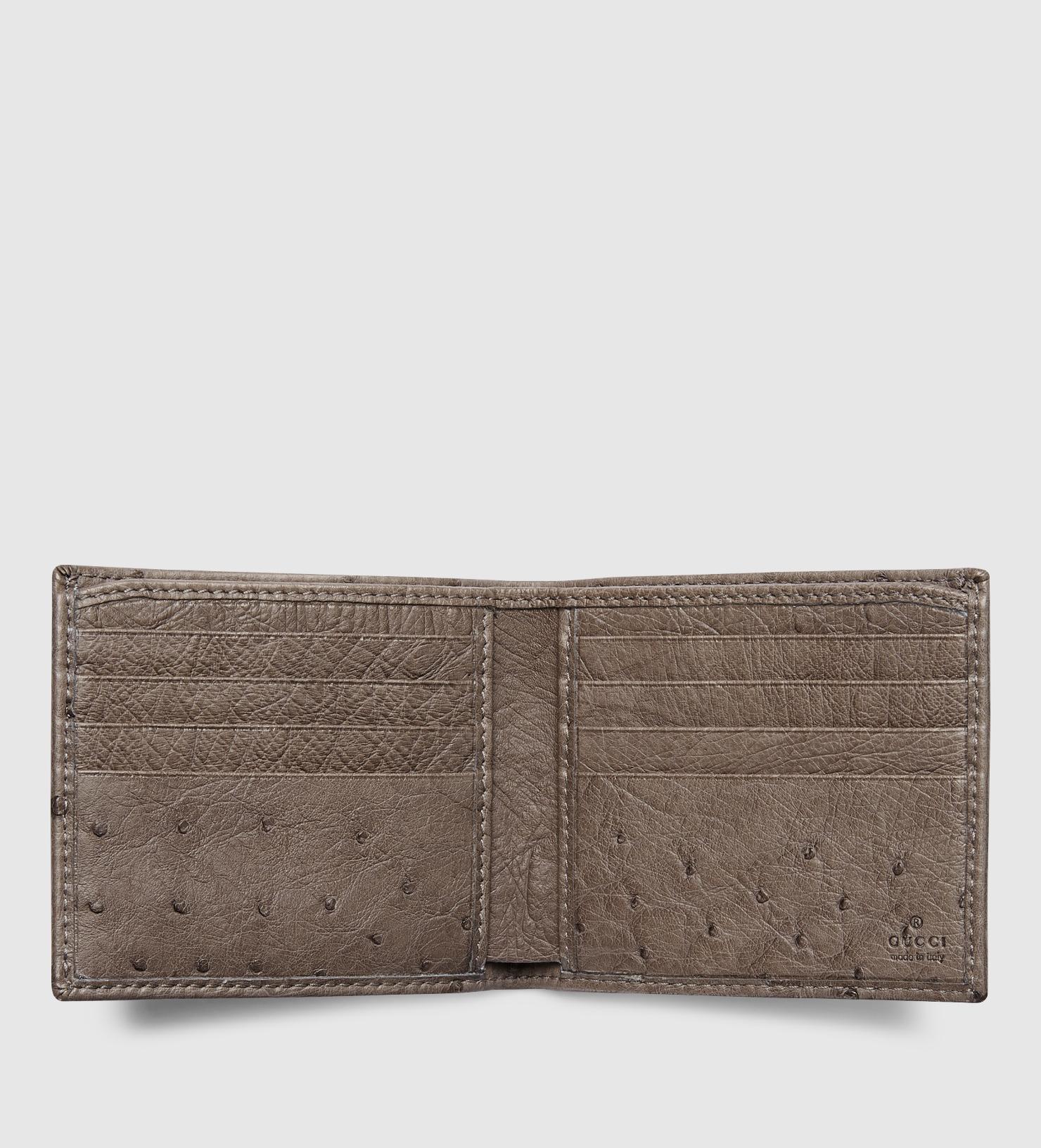 822ddd93508 Gucci Ostrich Bi-fold Wallet in Brown for Men - Lyst
