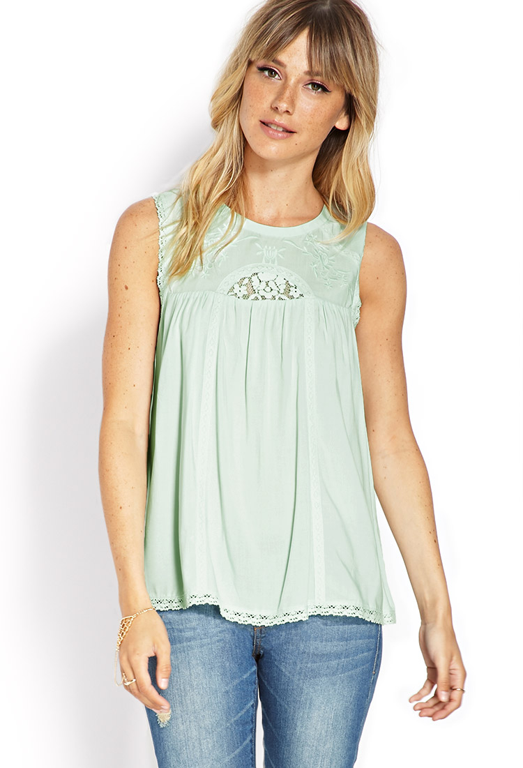 2ebb834fdbd18 Lyst - Forever 21 Embroidered Sleeveless Top in Green