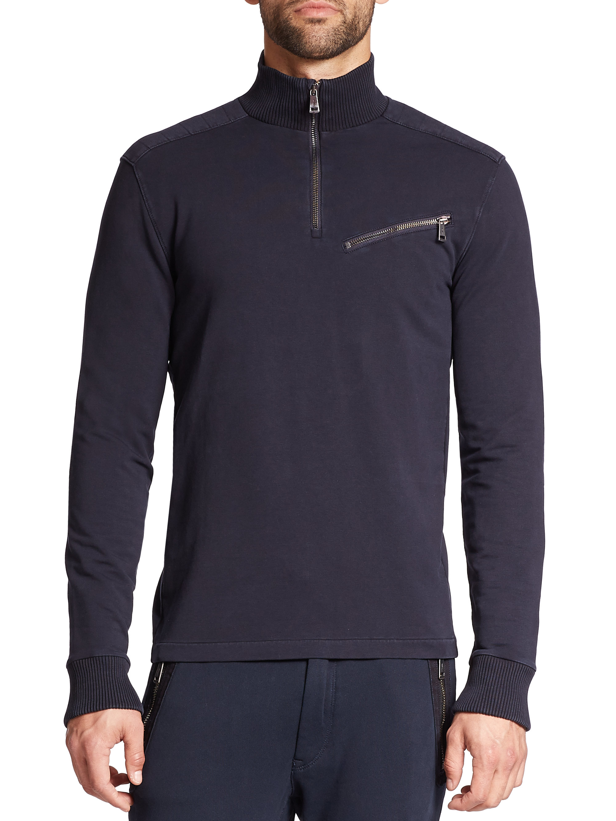 lyst polo ralph lauren french terry moto pullover. Black Bedroom Furniture Sets. Home Design Ideas