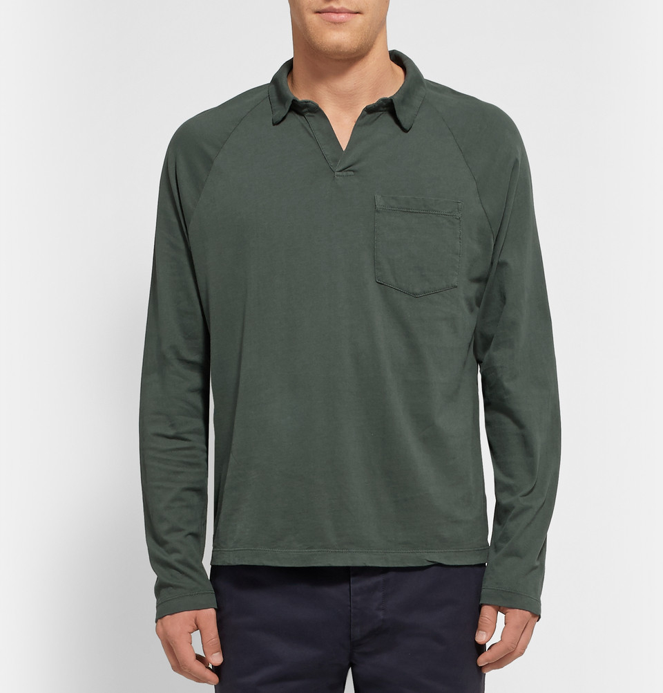 James perse Long-Sleeved Supima Cotton Polo Shirt in Green ...