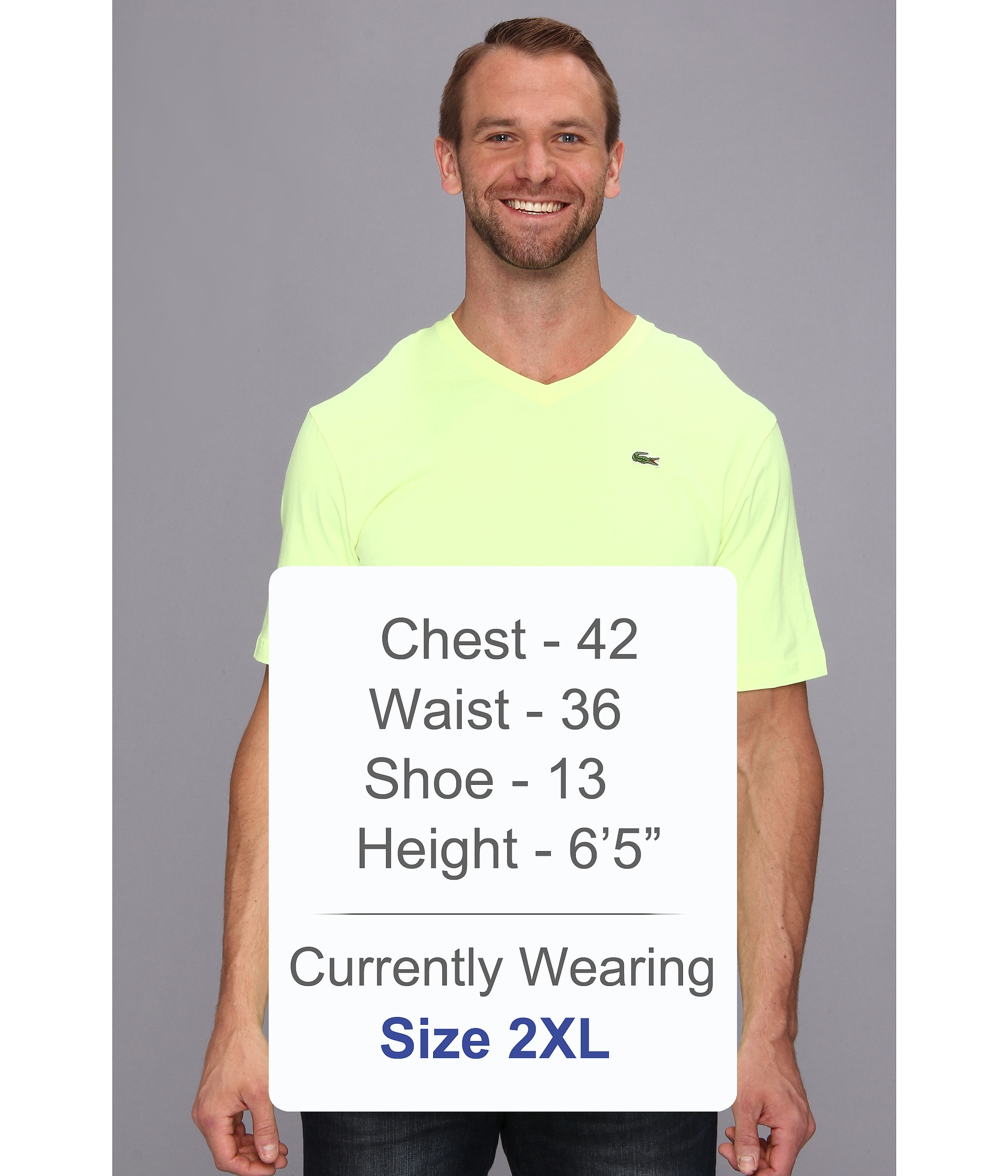 lacoste big ss jersey vneck tshirt in yellow for men