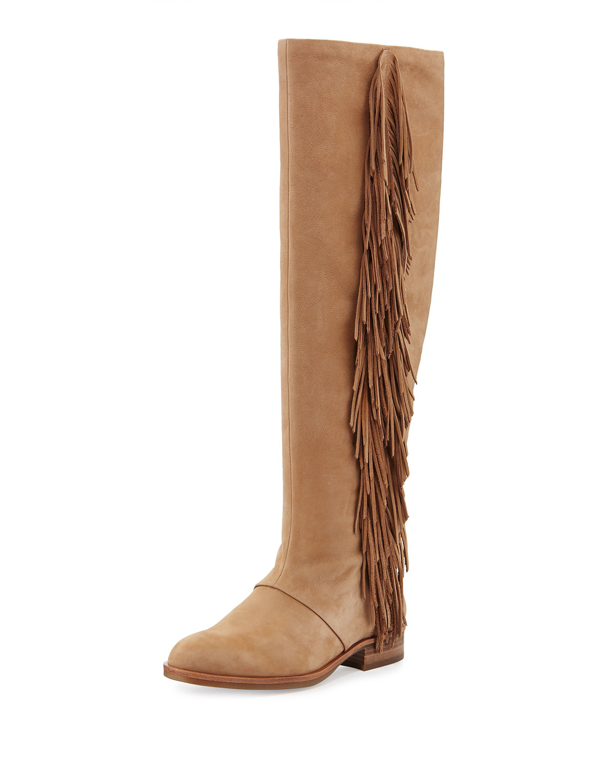 23cc6e3439c81 Lyst - Sam Edelman Josephine Fringed Knee-High Boots in Natural