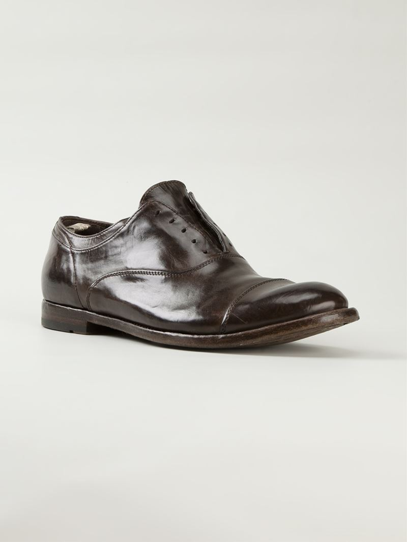 Officine Creative Anatomia Laceless Derby Shoes in Brown for Men