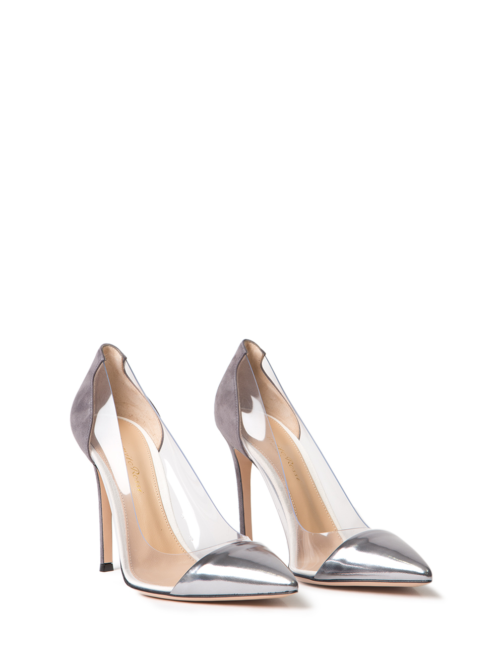 5a20068a0f0 Lyst - Gianvito Rossi Plexi Metallic Leather and Suede Pumps in Metallic