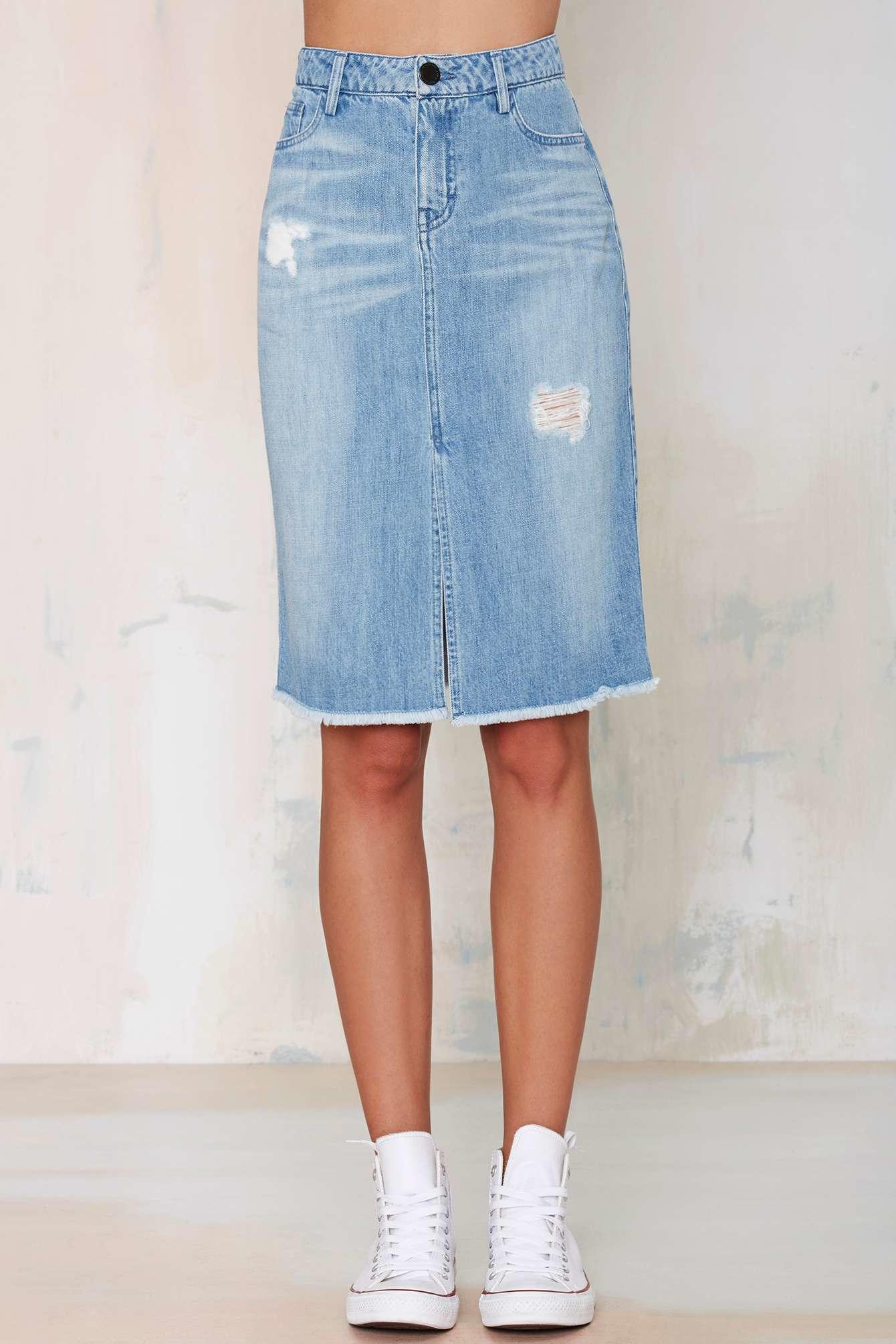 etienne marcel destroyed denim skirt in blue lyst