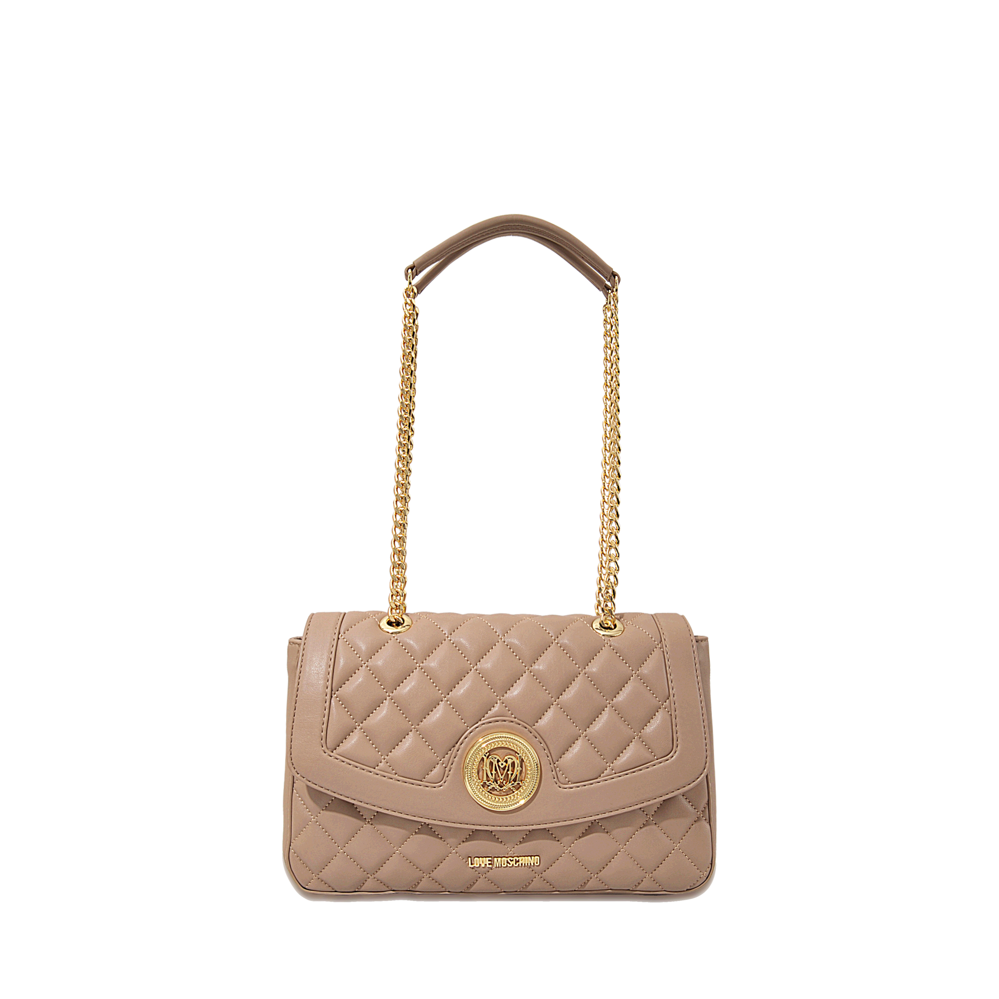 love moschino super quilted flap bag in beige lyst. Black Bedroom Furniture Sets. Home Design Ideas