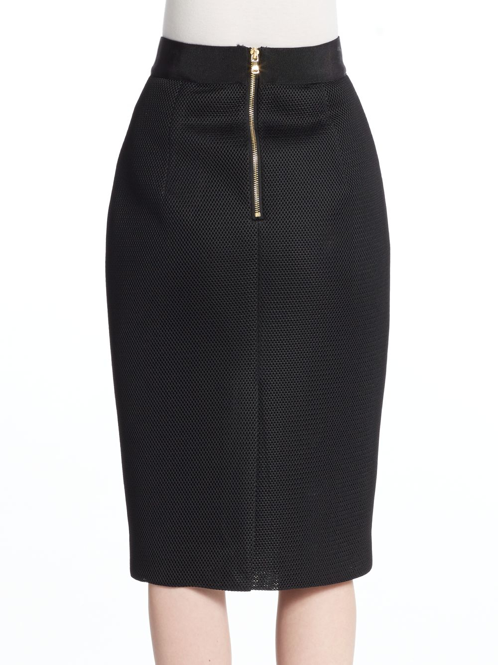 milly mesh pencil skirt in black lyst