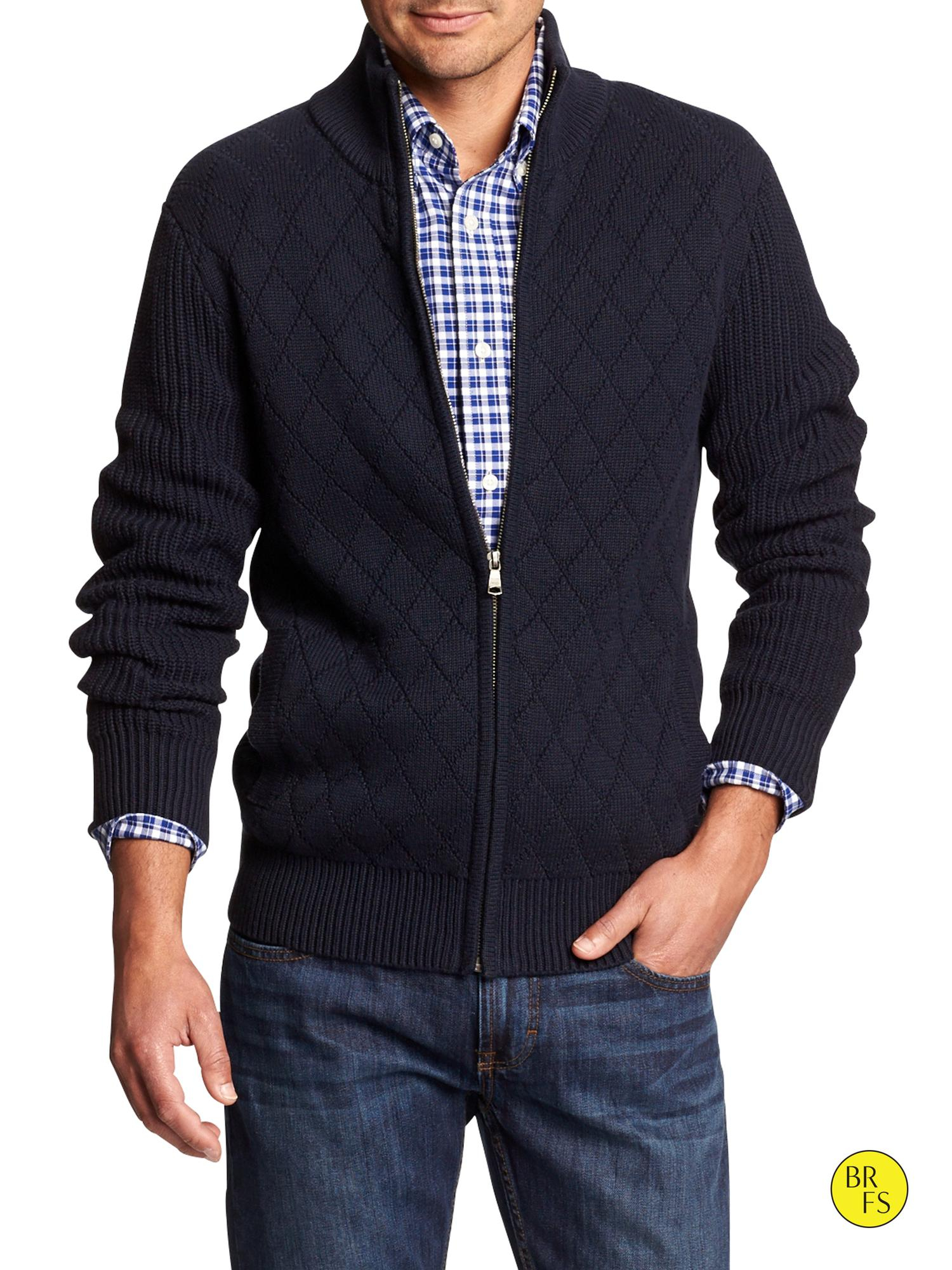 Lyst - Banana Republic Factory Quilted Full-Zip Mock-Neck Sweater in ... 0709ce030