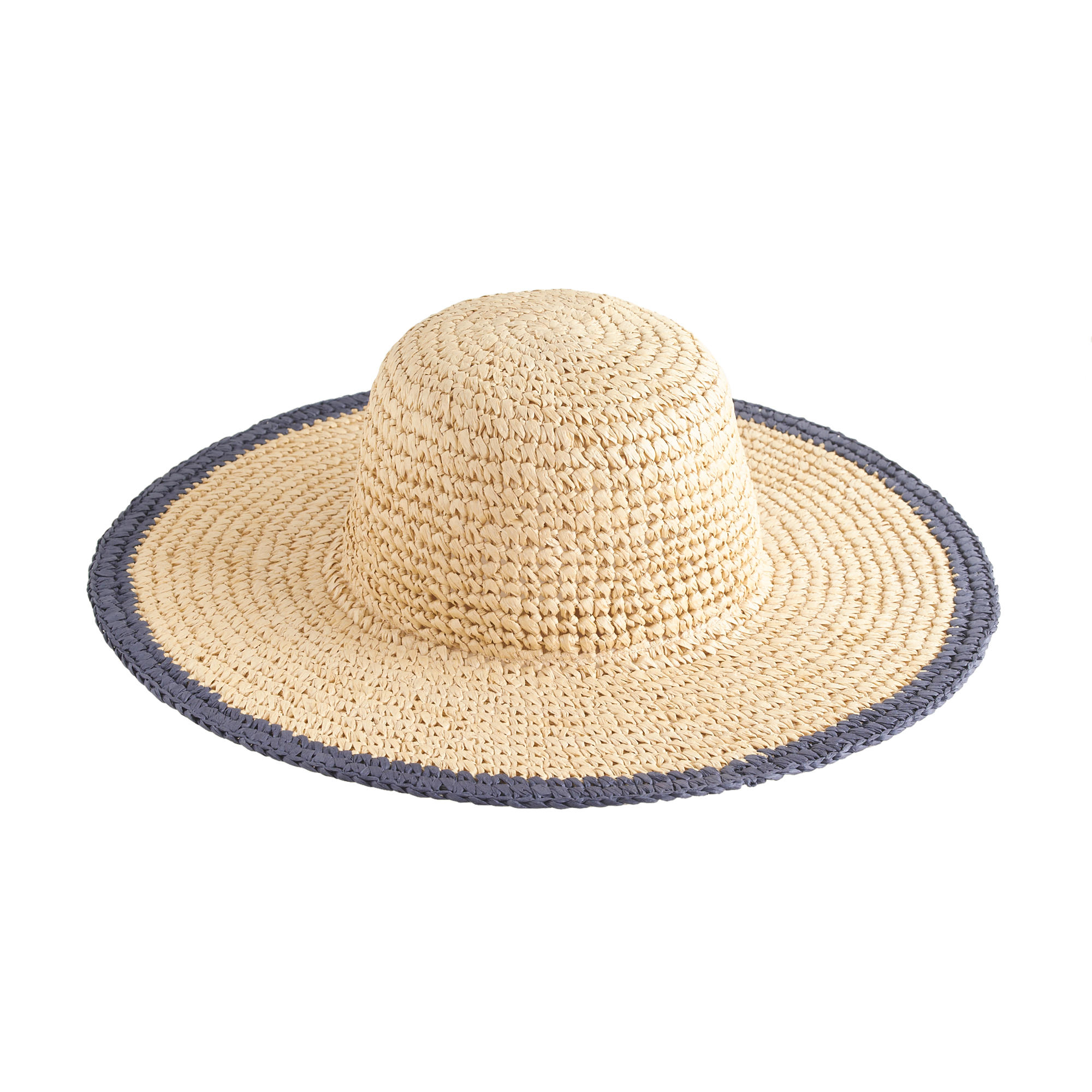 j crew straw hat with blue trim in lyst
