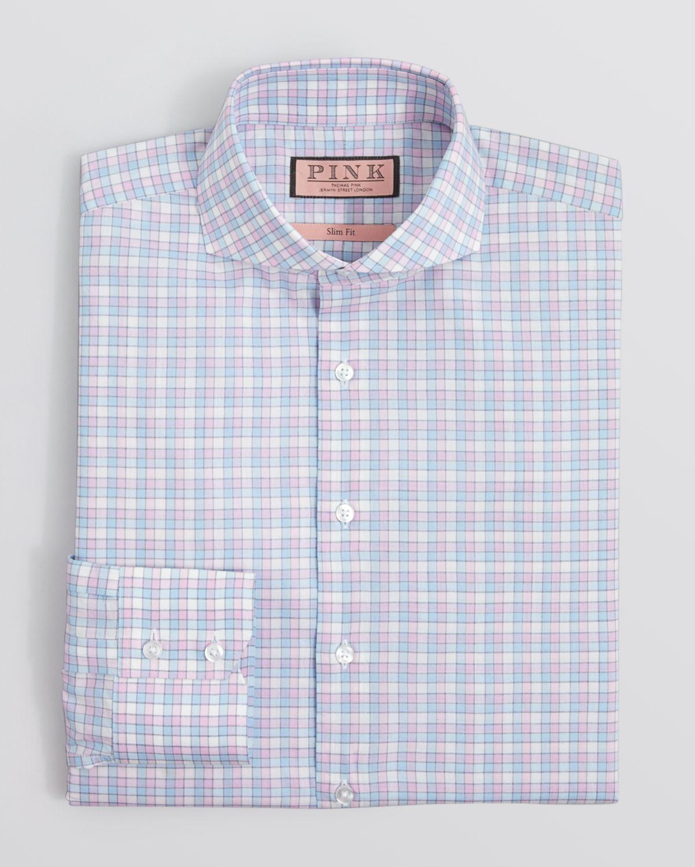 Thomas Pink Gilham Check Dress Shirt Regular Fit In Blue
