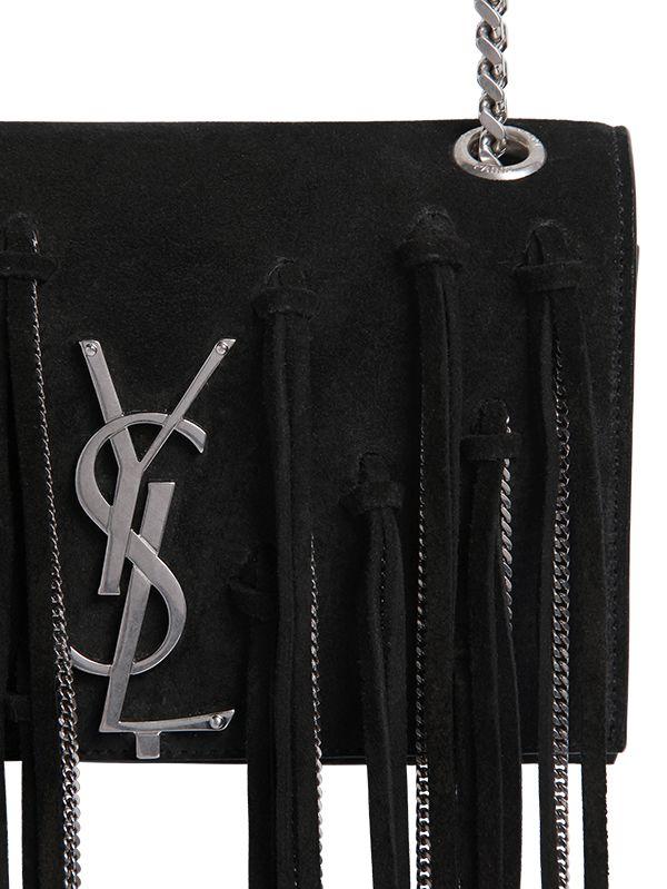 Monogram Suede Fringe Shoulder Bag Ysl Replica Bags