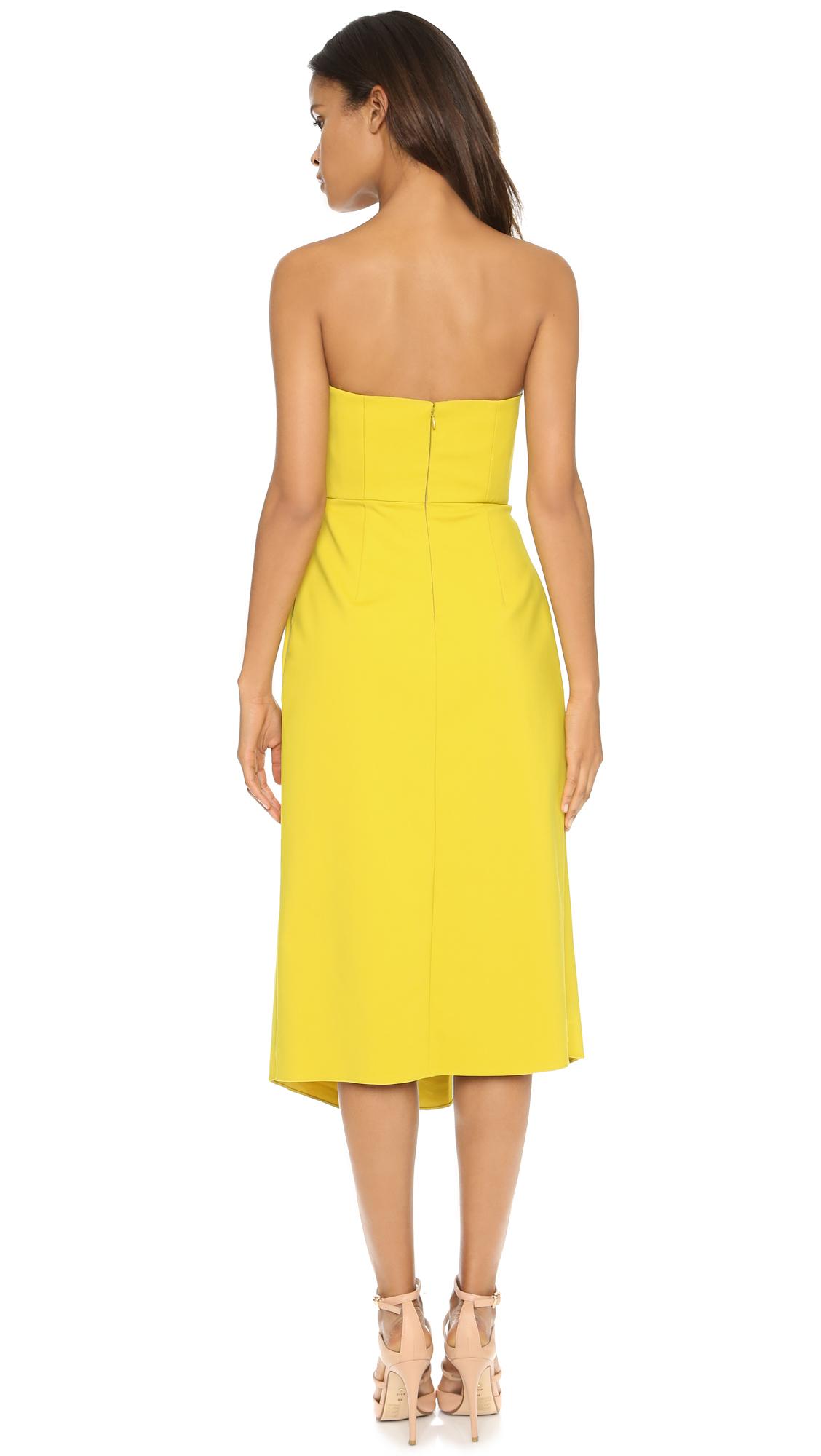 Tibi Asymmetric Drape Strapless Dress - Mustard Seed in Yellow - Lyst
