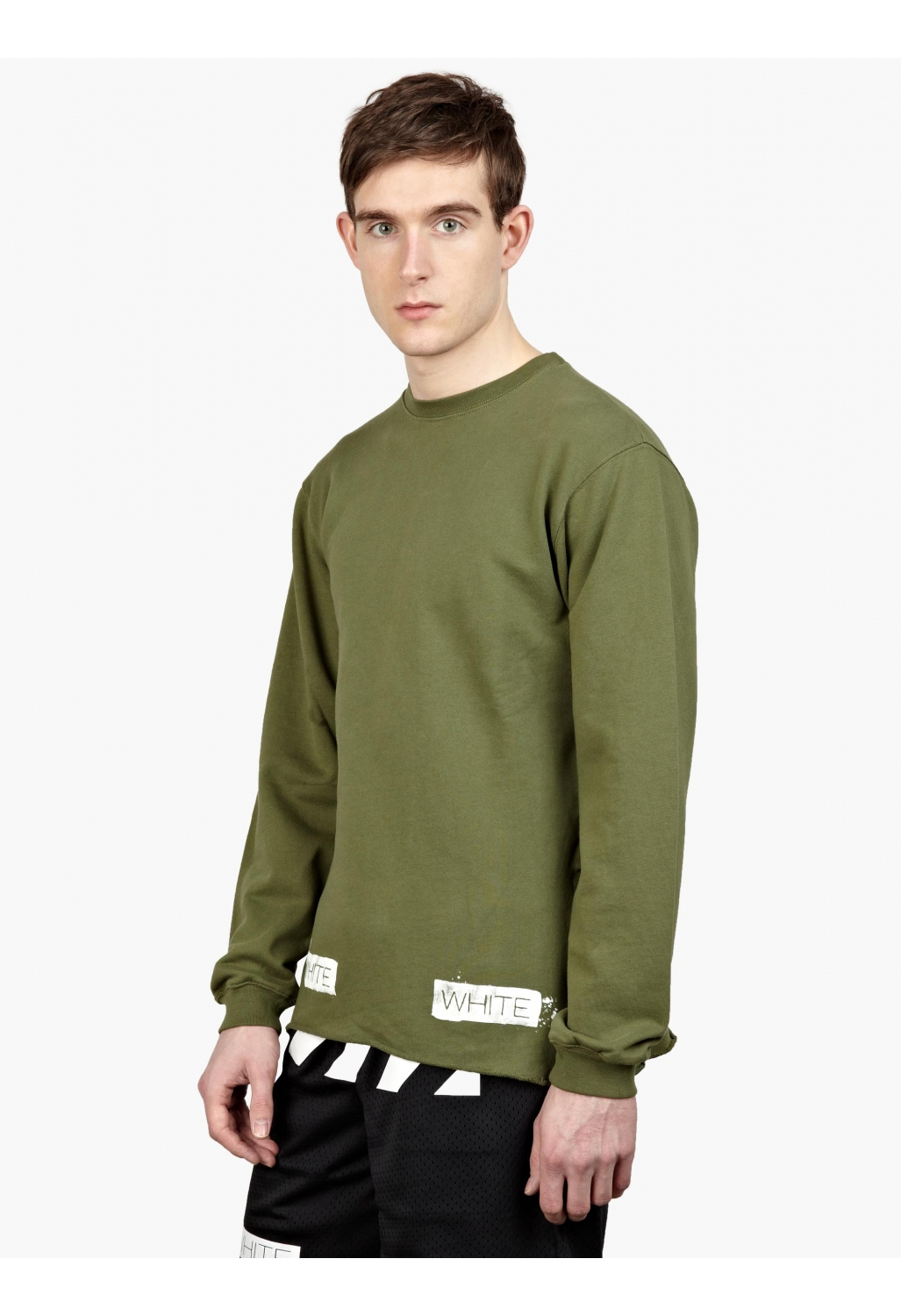 off white c o virgil abloh men s green cotton logo sweatshirt in green for men lyst. Black Bedroom Furniture Sets. Home Design Ideas
