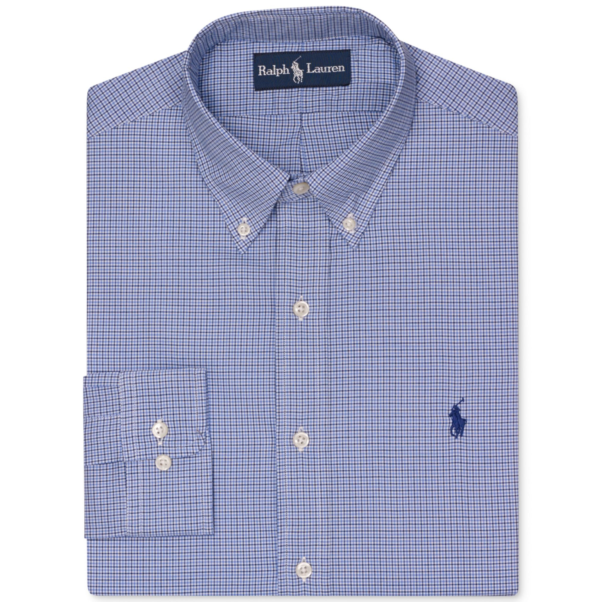 Ralph lauren polo slim fit blue check dress shirt in blue for Blue check dress shirt