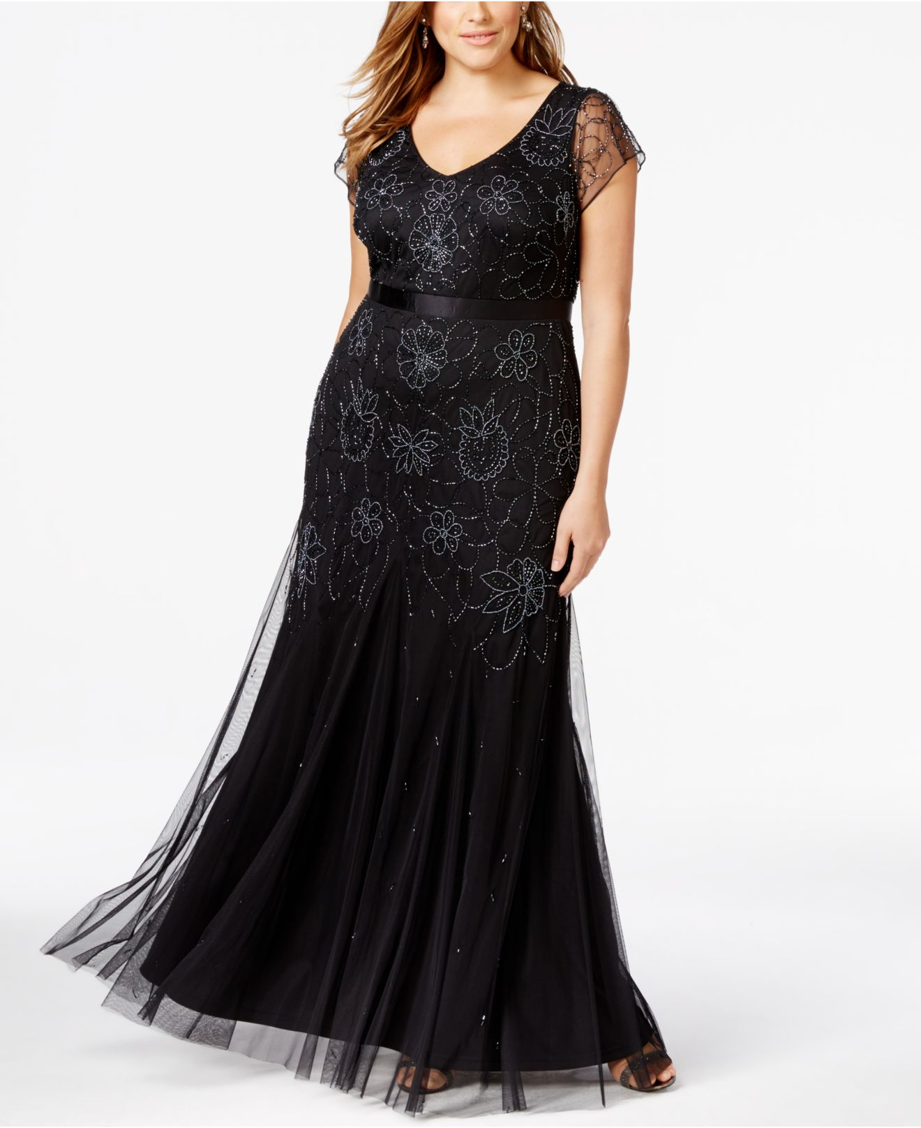 Lyst Adrianna Papell Plus Size Beaded Cap Sleeve Gown In
